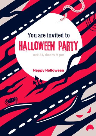 Scary Halloween flyer with the invitation text to halloween party. Mystic forest with tree branches silhouettes. Vector Halloween holiday greeting card.