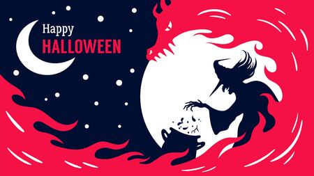 Happy Halloween poster with a witch who make a fiery brew. Vector Halloween holiday greeting card. Иллюстрация