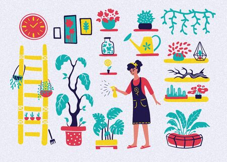 Young woman watering plants. Gardening concept vector illustration. Set of gardening icons in flat style.