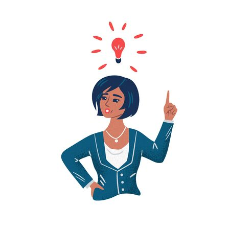Young business woman has an idea. Idea concept. Flat cartoon vector illustration isolated on white background.