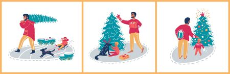 Father and son at Christmas holidays. Christmas set vector illustrations. 일러스트
