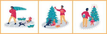 Father and son at Christmas holidays. Christmas set vector illustrations. Иллюстрация