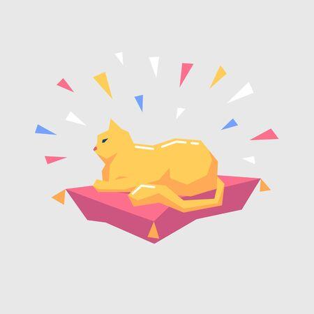 Cartoon red cat character lie on the pillow. Vector illustration. Иллюстрация