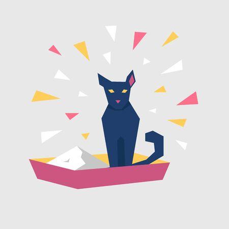 Cartoon black cat character sit at the tray. Vector illustration.