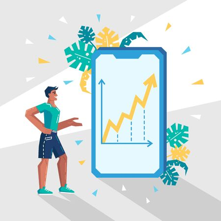 Young man stands and sees the diagram on mobile phone. Diagrams, graphs, statistics, analytics, data reporting concept. Modern vector illustration in flat style. Çizim