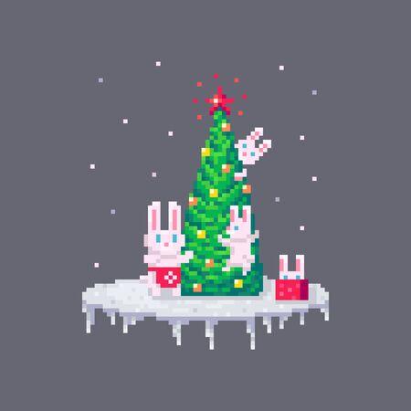 Pixel art Christmas family of rabbits. Cute greeting illustration on holidays. Иллюстрация
