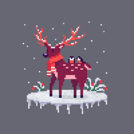 Pixel art Christmas deer and bullfinches on him. Cute greeting illustration on holidays.