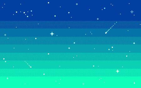 Pixel art star sky at evening. Illusztráció