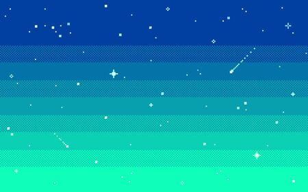 Pixel art star sky at evening. Ilustrace
