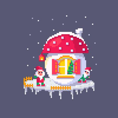Pixel art Christmas gnomes and mushroom house. Dwarfs at Christmas eve. Cute greeting illustration for the holidays.