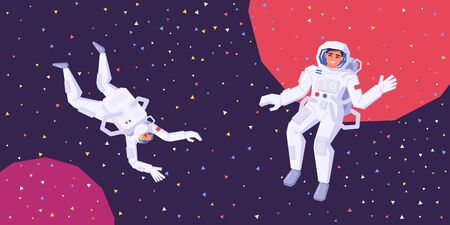 Astronauts man and woman fly in zero gravity in outer space. The research of the galaxy, space and unknown planets. Human spaceflight. Modern vector illustration.