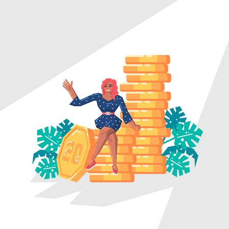Happy woman saves the money. Business woman sits on big gold stacks of coins. Family budget, home savings, online payments and finance concept. Modern vector illustration in flat style.