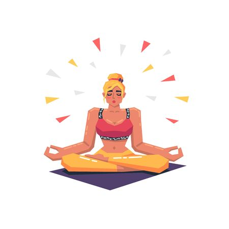 Beautiful young woman practicing yoga in lotus pose. Calm and inner balance. Fitness yoga concept. Modern vector illustration.