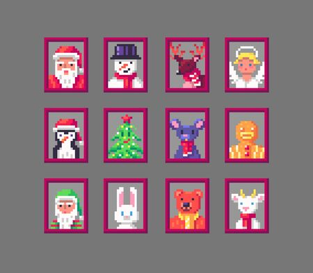 Pixel art animals avatars on Christmas. Cute heads and faces of different Christmas personages. Vector illustration. Иллюстрация