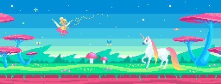Pixel art scene with a magical unicorn and fairy. Horizontal tile seamless background. Cute vector illustration. 일러스트