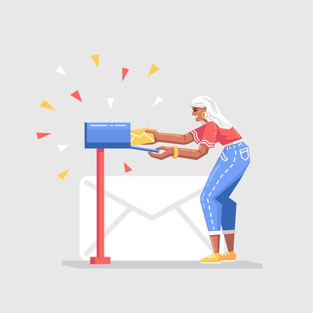 Young woman puts the letter in the mail box. Social network, chat, working process, email message concept. Modern vector illustration in flat style. 일러스트