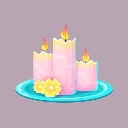 Burning wax or paraffin aromatic candles for aromatherapy. Cute home decoration, holiday decorative design element. Vector illustration on isolated background.