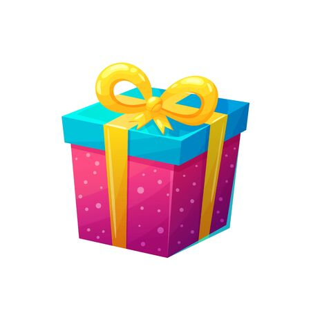 Bright gift box in cartoon style. Cute vector illustration on isolated background.
