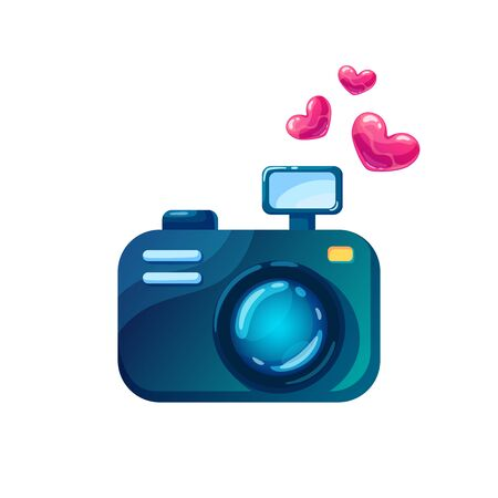 A camera for lovers in cartoon syle. Icon photo for Valentine's Day. Cute vector illustration on isolated background.