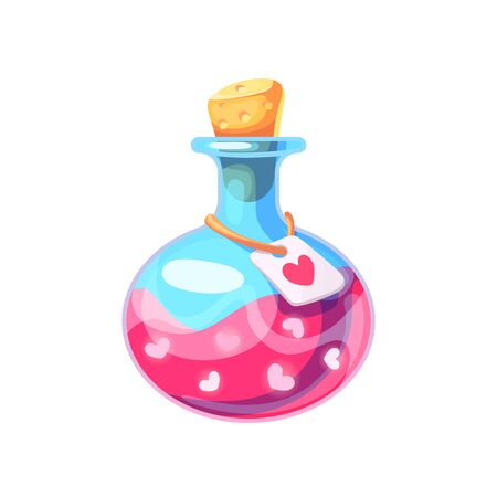 Chemistry glass bottle filled with a pink liquid potion in cartoon style. Love potion. Cute vector illustration on isolated background.