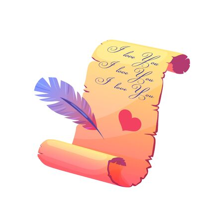 Love letter parchment in cartoon style. Vintage paper scroll with feather. Cute vector illustration on isolated background.