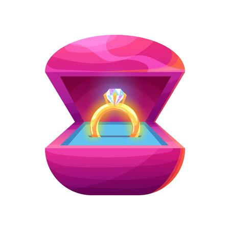 Golden ring with diamond in a gift box in cartoon style. Cute vector illustration on isolated background.
