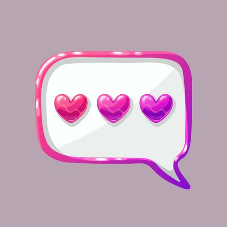 Love chat icon in cartoon style. Online message with hearts. Cute vector illustration on isolated background.