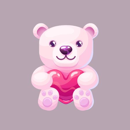 Cute Teddy bear hold the heart. Gift toy icon in cartoon style. Symbol of love on Valentine's Day. Vector illustration on isolated background.