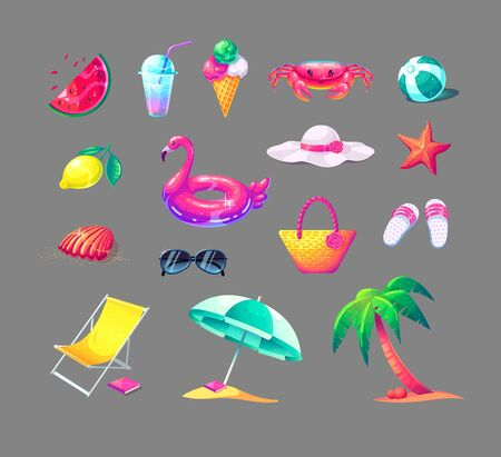 Summer vacation vector set of colorful beach elements in cartoon style. Cute vector illustration on isolated background.