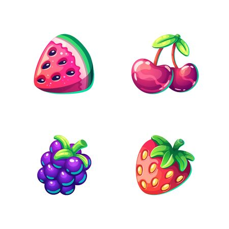 Set of cartoon bright berries isolated on white background. Watermelon, cherry, blackberry, strawberry. Vector illustration. Ilustração