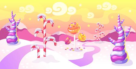 Cartoon fantasy candy land location. Sweet world background with candy trees and mountains in winter time. Vector illustration.