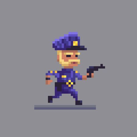 Pixel art running policeman. Cop with a gun at the work. Vector illustration. Stock Illustratie