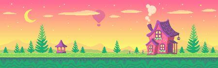 Pixel art cute village at sunset. Pixel art game location. Seamless vector background.