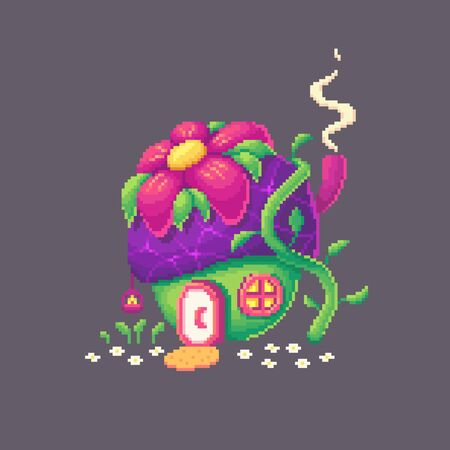 Pixel art forest house like a flower. Cute fairy building for game design. Vector illustration.