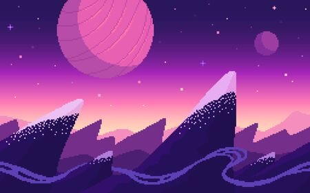 Mountains area on alien planet. Pixel art game location. Seamless vector background. Stock Illustratie