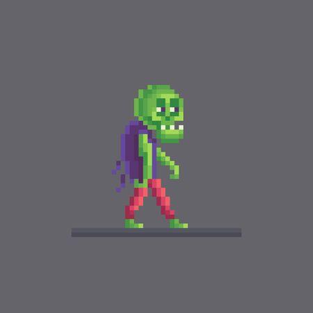 Pixel art horrible zombie character. Cute vector illustration.