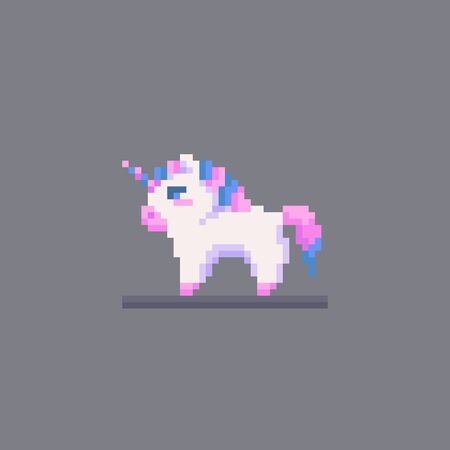 Pixel art fairy little unicorn personage.. Cute vector illustration.