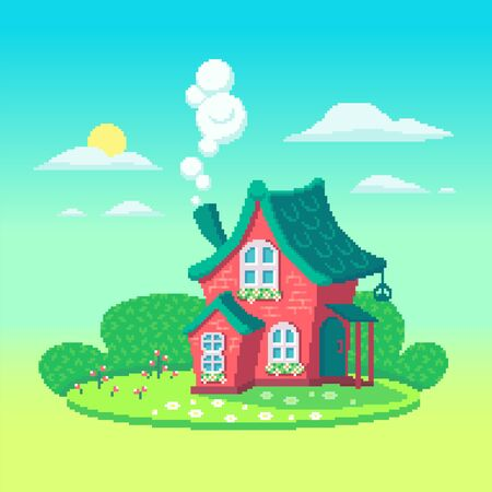 Pixel art fairy house on the meadow. Cute cottage at sunny day. Vector illustration.