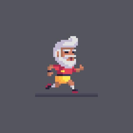 Pixel art elderly man goes in for sports. Running old man character. Cute vector illustration.
