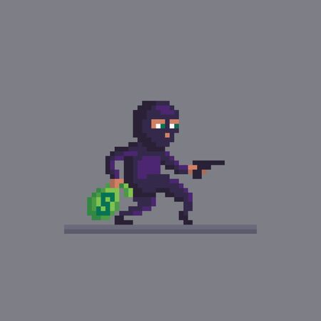 Pixel art burglar who robbed a bank. bandit with a bag of money character. Cute vector illustration.