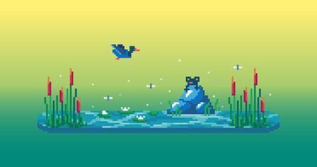 Pixel art swamp with cute frog, reeds, water lilies and duck. Vector illustration.