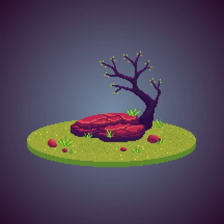 Pixel art empty stone and tree on the meadow. Cute nature scene as decoration. Vector illustration.