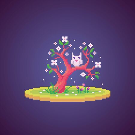 Pixel art white owl on the blossom tree. Cute vector illustration. Illustration