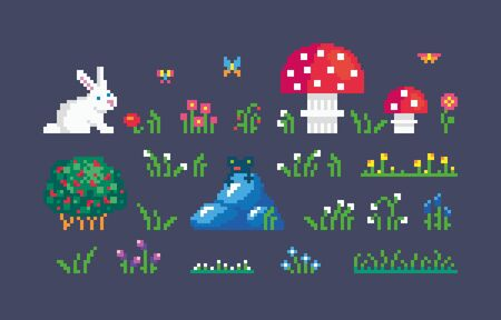 Pixel art forest icons set. Cute environment objects for design. vector illustration. Stock Illustratie