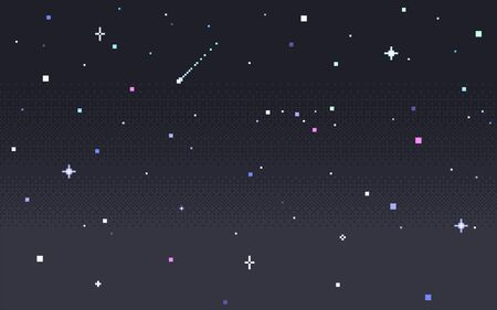 Pixel art star sky at night. Starry sky seamless backdrop. Vector illustration. 向量圖像