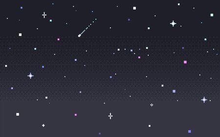Pixel art star sky at night. Starry sky seamless backdrop. Vector illustration. Illustration