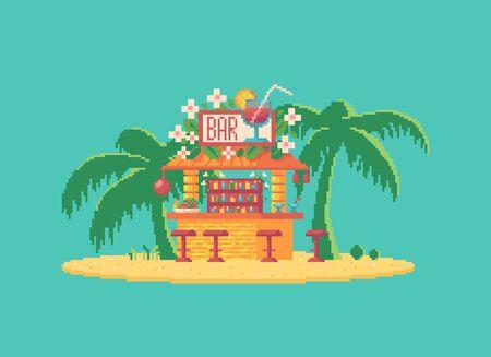 Pixel art cocktail bar. Cute Hawaii restaurant on the beach.Vector illustration. Illustration