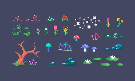 Pixel art forest plants. Cute environment objects for design. vector illustration.