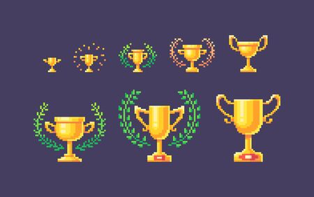 Pixel art set of gold winner cups different forms and sizes. Vector illustration. Stock Illustratie