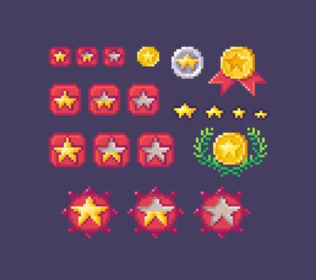 Pixel art set of star rating buttons different forms and sizes. Vector illustration.